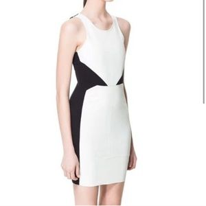 Zara black and white faux leather combo dress